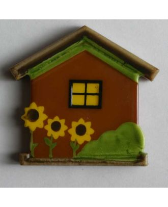 Kinderknopf Häuschen mit Sonnenblumen - Größe: 30mm - Farbe: braun - Art.Nr. 340502