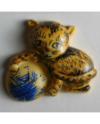 Kinderknopf Kätzchen mit Wollknäuel - Größe: 30mm - Farbe: beige - Art.Nr. 340504