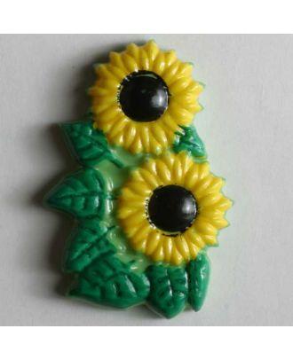 Kinderknopf schöne Sonnenblumen- Größe: 30mm - Farbe: grün - Art.Nr. 340505