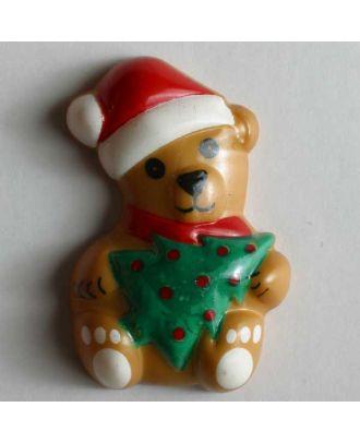 Weihnachtsknopf Bärchen mit Christbaum - Größe: 28mm - Farbe: beige - Art.Nr. 340507