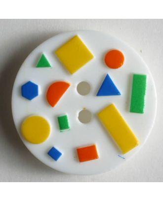 Kinderknopf mit bunten geometrischen Formen -  Größe: 18mm - Farbe: weiß - Art.Nr. 241043