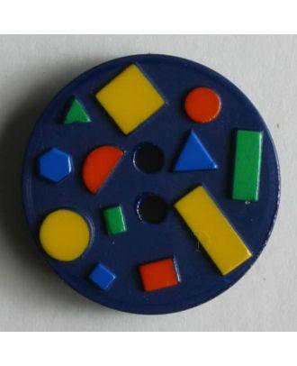 Kinderknopf mit bunten geometrischen Formen -  Größe: 15mm - Farbe: blau - Art.Nr. 221642