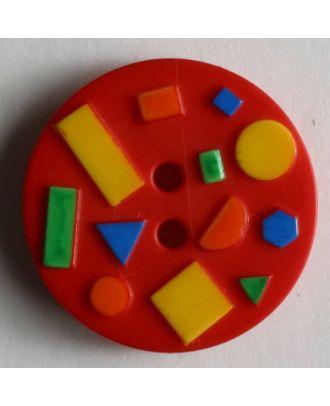 Kinderknopf mit bunten geometrischen Formen - Größe: 15mm - Farbe: rot - Art.Nr. 221643