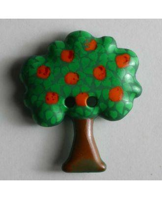 Kinderknopf in Form eines Apfelbaums - Größe: 30mm - Farbe: grün - Art.Nr. 340551