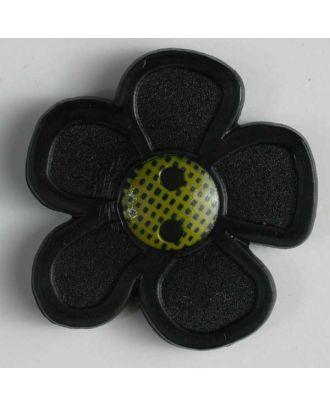 wunderschöner Blumenknopf - Größe: 28mm - Farbe: schwarz - Art.Nr. 340705