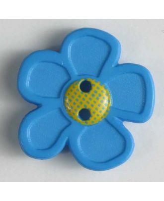 wunderschöner Blumenknopf - Größe: 28mm - Farbe: blau - Art.Nr. 340553