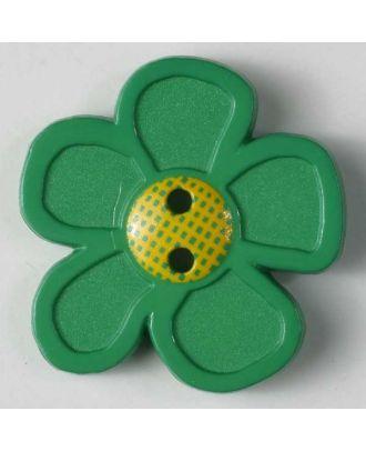 wunderschöner Blumenknopf - Größe: 28mm - Farbe: grün - Art.Nr. 340707