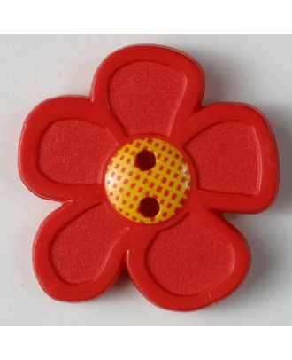 wunderschöner Blumenknopf -  Größe: 28mm - Farbe: rot - Art.Nr. 340708