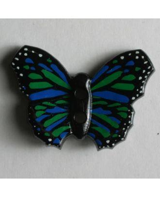 Kinderknopf in Form eines schönen bunten Schmetterlings -  Größe: 28mm - Farbe: schwarz - Art.Nr. 340557