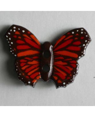 Kinderknopf in Form eines schönen bunten Schmetterlings -  Größe: 28mm - Farbe: braun - Art.Nr. 340610