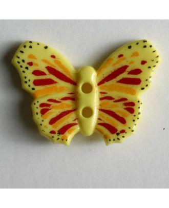 Kinderknopf in Form eines schönen bunten Schmetterlings - Größe: 28mm - Farbe: gelb - Art.Nr. 340558
