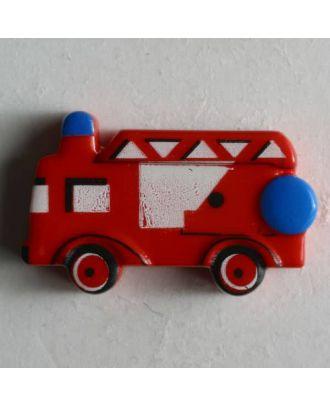 Kinderknopf mit schönem Feuerwehrauto - Größe: 23mm - Farbe: rot - Art.Nr. 251443