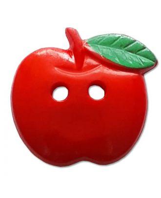 Kinderknopf Apfel mit Blatt - Größe: 19mm - Farbe: rot - Art.Nr. 251442