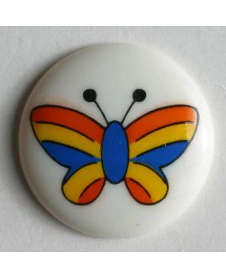 Kinderknopf mit buntem Schmetterling bemalt - Größe: 18mm - Farbe: weiß - Art.Nr. 221682