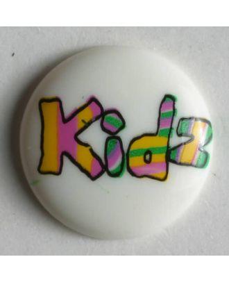 Kinderknopf lustig beschriftet mit kidz - Größe: 15mm - Farbe: weiß - Art.Nr. 211571