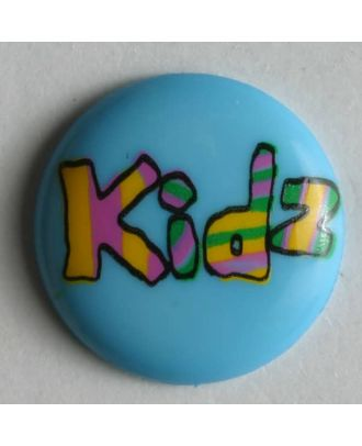 Kinderknopf lustig beschriftet mit kidz - Größe: 15mm - Farbe: blau - Art.Nr. 211572