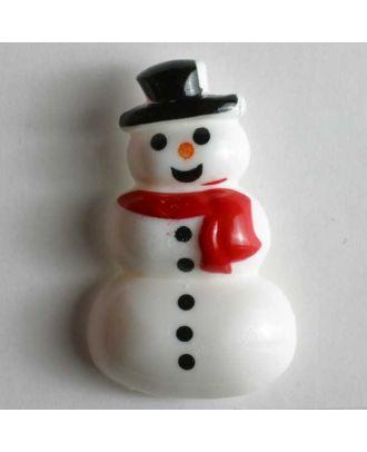 Kinderknopf Schneemann mit rotem Schal - Größe: 28mm - Farbe: weiß - Art.Nr. 340618
