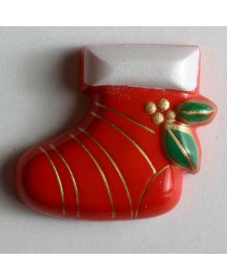 Weihnachtsknopf Nikolausstiefel - Größe: 28mm - Farbe: rot - Art.Nr. 340614