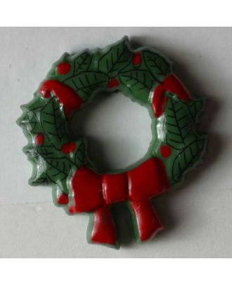 Weihnachtsknopf Türkranz - Größe: 28mm - Farbe: grün - Art.Nr. 340617