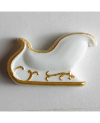 Kinderknopf Schlitten mit goldenen Kufen - Größe: 28mm - Farbe: weiß - Art.Nr. 340616