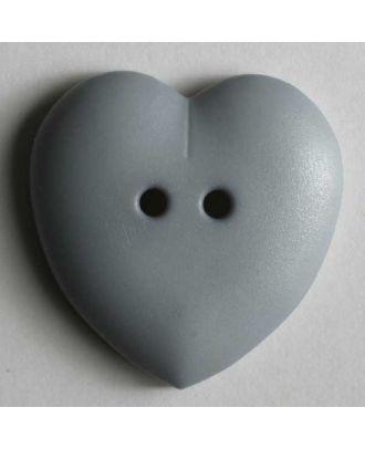 hübscher Herzknopf, rundlich gewölbte Form, 2-Loch - Größe: 15mm - Farbe: grau - Art.Nr. 219027