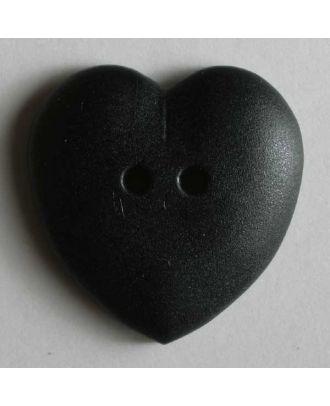 hübscher Herzknopf, rundlich gewölbte Form, 2-Loch - Größe: 15mm - Farbe: schwarz - Art.Nr. 219028