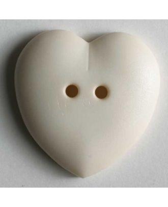 hübscher Herzknopf, rundlich gewölbte Form, 2-Loch - Größe: 23mm - Farbe: beige - Art.Nr. 259081