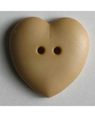 hübscher Herzknopf, rundlich gewölbte Form, 2-Loch - Größe: 23mm - Farbe: beige - Art.Nr. 259029