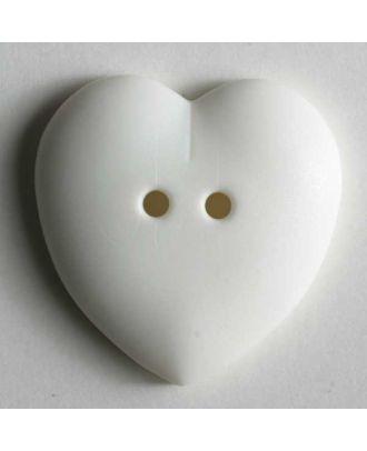 hübscher Herzknopf, rundlich gewölbte Form, 2-Loch -  Größe: 23mm - Farbe: beige - Art.Nr. 259030