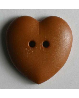 hübscher Herzknopf, rundlich gewölbte Form, 2-Loch -  Größe: 23mm - Farbe: braun - Art.Nr. 259082