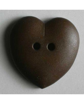 hübscher Herzknopf, rundlich gewölbte Form, 2-Loch -  Größe: 23mm - Farbe: braun - Art.Nr. 259031