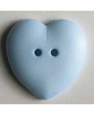 hübscher Herzknopf, rundlich gewölbte Form, 2-Loch -  Größe: 15mm - Farbe: blau - Art.Nr. 219032