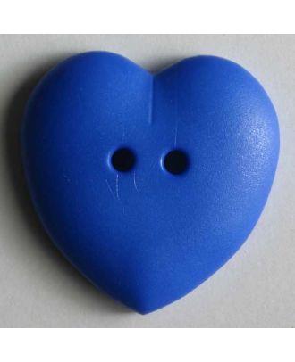 hübscher Herzknopf, rundlich gewölbte Form, 2-Loch -  Größe: 15mm - Farbe: blau - Art.Nr. 219033