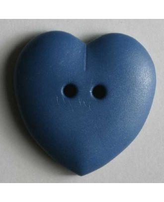 hübscher Herzknopf, rundlich gewölbte Form, 2-Loch -  Größe: 15mm - Farbe: blau - Art.Nr. 219034