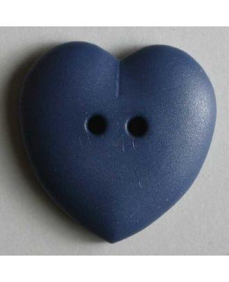 hübscher Herzknopf, rundlich gewölbte Form, 2-Loch -  Größe: 15mm - Farbe: blau - Art.Nr. 219035