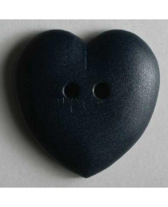 hübscher Herzknopf, rundlich gewölbte Form, 2-Loch -  Größe: 23mm - Farbe: blau - Art.Nr. 259036