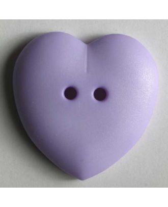 hübscher Herzknopf, rundlich gewölbte Form, 2-Loch -  Größe: 23mm - Farbe: lila - Art.Nr. 259037