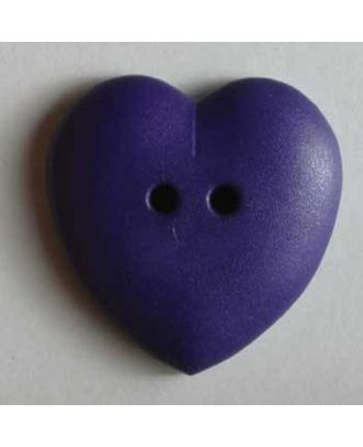 hübscher Herzknopf, rundlich gewölbte Form, 2-Loch - Größe: 23mm - Farbe: lila - Art.Nr. 259038