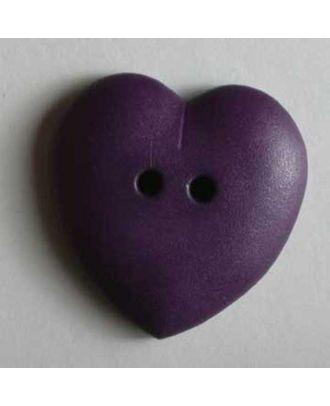 hübscher Herzknopf, rundlich gewölbte Form, 2-Loch  - Größe: 23mm - Farbe: lila - Art.Nr. 259039