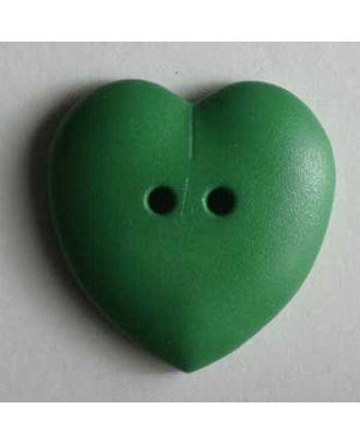 hübscher Herzknopf, rundlich gewölbte Form, 2-Loch -  Größe: 23mm - Farbe: grün - Art.Nr. 259040