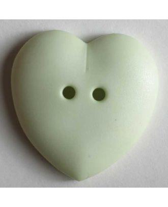 hübscher Herzknopf, rundlich gewölbte Form, 2-Loch  - Größe: 23mm - Farbe: grün - Art.Nr. 259083