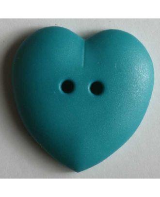 hübscher Herzknopf, rundlich gewölbte Form, 2-Loch -  Größe: 23mm - Farbe: grün - Art.Nr. 259041