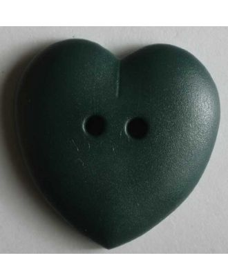 hübscher Herzknopf, rundlich gewölbte Form, 2-Loch - Größe: 23mm - Farbe: grün - Art.Nr. 259042