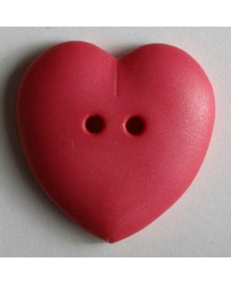 hübscher Herzknopf, rundlich gewölbte Form, 2-Loch - Größe: 23mm - Farbe: pink - Art.Nr. 259044