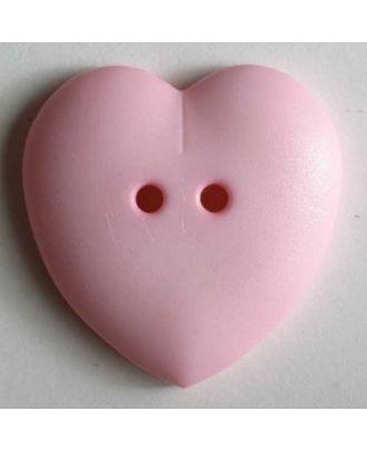 hübscher Herzknopf, rundlich gewölbte Form, 2-Loch -  Größe: 15mm - Farbe: pink - Art.Nr. 219043