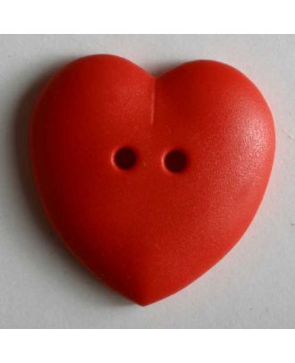 hübscher Herzknopf, rundlich gewölbte Form, 2-Loch - Größe: 15mm - Farbe: rot - Art.Nr. 219046