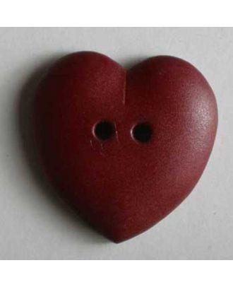 hübscher Herzknopf, rundlich gewölbte Form, 2-Loch - Größe: 23mm - Farbe: rot - Art.Nr. 259047