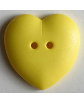 hübscher Herzknopf, rundlich gewölbte Form, 2-Loch - Größe: 15mm - Farbe: gelb - Art.Nr. 219048