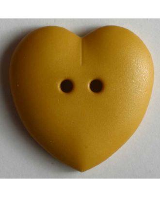 hübscher Herzknopf, rundlich gewölbte Form, 2-Loch - Größe: 15mm - Farbe: gelb - Art.Nr. 219049