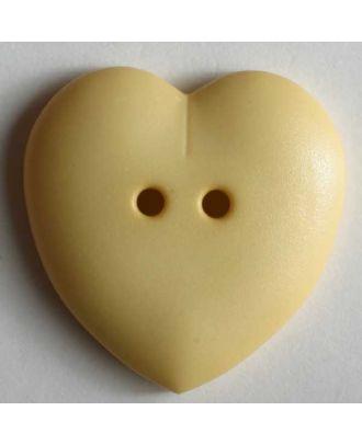 hübscher Herzknopf, rundlich gewölbte Form, 2-Loch - Größe: 15mm - Farbe: gelb - Art.Nr. 219115
